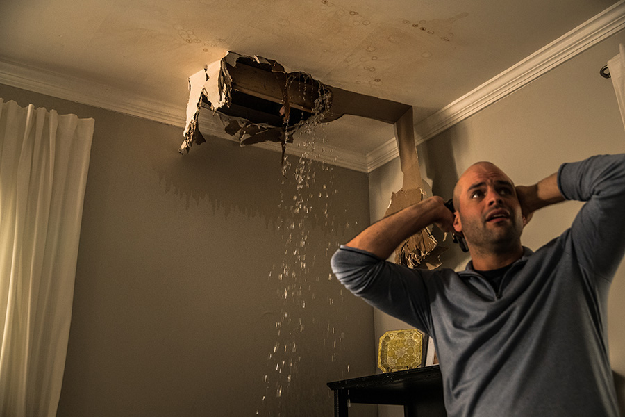 Water Damage cause by Water Leak on the Ceiling